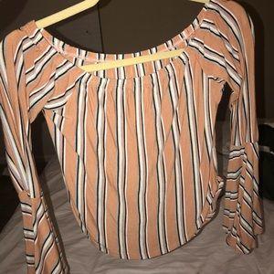 Bell sleeve rust stripe top